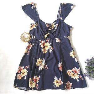 NWT Xhilaration Blue Floral Cap Sleeve Dress